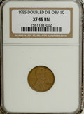 Lincoln Cents, 1955 1C Doubled Die Obverse XF45 NGC....