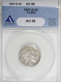 Buffalo Nickels, 1937-D 5C Three-Legged AU58 ANACS....