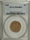 Two Cent Pieces, 1865 2C MS64 Red PCGS....