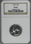 Proof Washington Quarters, 1936 25C PR65 NGC....