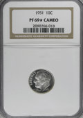 Proof Roosevelt Dimes, 1951 10C PR69 ★ Cameo NGC....