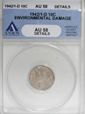 1942/1-D 10C --Environmental Damage--ANACS. AU58 Details....(PCGS# 5040)