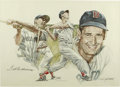 Baseball Collectibles:Others, Ted Williams Signed Lithograph. Exceptional rendering of theSplendid Splinter Ted Williams is afforded here from the artwo...