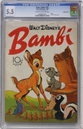 Golden Age (1938-1955):Cartoon Character, Four Color #12 Bambi (#1) - Double Cover (Dell, 1942) CGC FN- 5.5 Cream to off-white pages....