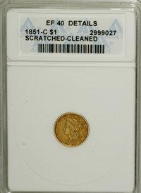 1851-C G$1 --Scratched, Cleaned--ANACS. XF40 Details....(PCGS# 7514)