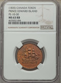 Canada:Prince Edward Island, (1835) Prince Edward Island, Ship Colonies & Commerce CopperToken, Charlton-PE10-1, MS63 Red and Brown NGC....