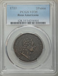 Colonials, 1723 2PENCE Rosa Americana Twopence VF35 PCGS. PCGS Population: (9/109). NGC Census: (1/30). ...