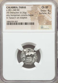 Ancients:Greek, Ancients: CALABRIA. Tarentum. Ca. 272-240 BC. AR stater or didrachm(6.26 gm). NGC Choice XF 4/5 - 4/5. ...
