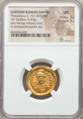 Ancients:Roman Imperial, Ancients: Theodosius II (AD 402-450). AV solidus (4.45 gm). NGC MS5/5 - 5/5. ...
