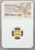 Ancients:Byzantine, Ancients: Heraclius (AD 610-641) and Heraclius Constantine (AD613-641). AV solidus (4.51 gm). NGC AU 3/5 - 4/5. ...