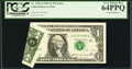 Error Notes:Foldovers, Fr. 1922-J $1 1995 Federal Reserve Note. PCGS Very Choice New64PPQ.. ...