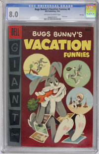 Dell Giant Comics - Bugs Bunny's Vacation Funnies #6 File Copy (Dell, 1956) CGC VF 8.0 Off-white to white pages