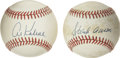 Autographs:Baseballs, Al Kaline and Hank Aaron Single Signed Baseballs Lot of 2. Twogreat sluggers and members of Baseball's Hall of Fame have a...