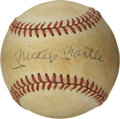 Autographs:Baseballs, Mickey Mantle Single Signed Baseball. The OAL (Brown) baseball sports the signature of the most beloved player of all time. ...