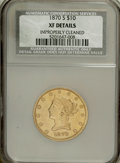 Liberty Eagles, 1870-S $10 --Improperly Cleaned--NCS. XF Details....