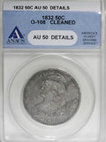 Bust Half Dollars, 1832 50C Small Letters--Cleaned--ANACS. AU50 Details....