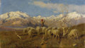 Fine Art - Painting, European:Antique  (Pre 1900), ACHILLE TOMINETTI (Italian 1848-1917). A Herder and FlockGrazing in the Alps. Oil on canvas. 13-1/2 x 23-1/2 inches(34...