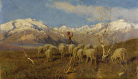 ACHILLE TOMINETTI (Italian 1848-1917) A Herder and Flock Grazing in the Alps Oil on canvas 13-1/2