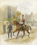 Fine Art - Painting, European, ORLANDO NORIE (British 1832-1901). An Officer on Horseback.Watercolor on a print. 15-1/4 x 13 inches (38.7 x 33.0 cm). ...(Total: 2 Items)