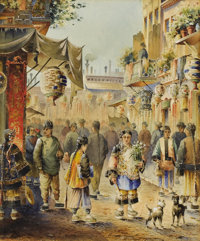 ROBERT FREDERICK BLUM (American 1857-1903) Chinese New Year Watercolor on paper 16-1/2 x 14 inche