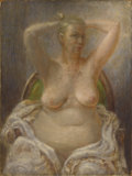 Fine Art - Painting, American:Modern  (1900 1949)  , PAUL CADMUS (American 1904-1999). Seated Nude with ArmsRaised, 1945. Tempera with oil glazes on masonite panel . 16 x1...