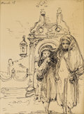 Fine Art - Painting, American:Modern  (1900 1949)  , EUGENE BERMAN (American 1899-1972). Two Girls Standing in frontof a Ruin, 1948. Ink on paper. 18-3/4 x 8-3/4 inches (47...