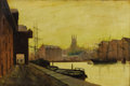 Fine Art - Painting, European, Attributed to JOHN ATKINSON GRIMSHAW (British 1836-1893). Gloucester Dock, 1890. Oil on canvas. 12 x 18 inches (30.5 x 4...