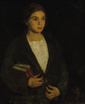 Fine Art - Painting, American, AMERICAN SCHOOL (Twentieth Century) . Portrait of Young Girlwith Books. Oil on wood board. 30 x 24 inches (76.2 x 61.0 ...