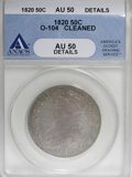 Bust Half Dollars, 1820 50C Square 2, Large Date, Knob--Cleaned--ANACS. AU50 Details....