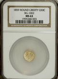 California Fractional Gold, 1859 50C Liberty Round 50 Cents, BG-1002, High R.4, MS63 NGC,...(Total: 3 coins)