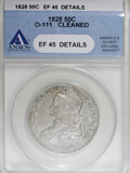 Bust Half Dollars, 1828 50C Square Base 2, Small 8, Large Letters--Cleaned--ANACS. XF45 Details....