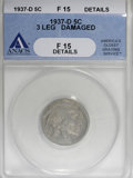 Buffalo Nickels, 1937-D 5C Three-Legged--Damaged--ANACS. Fine 15 Details....