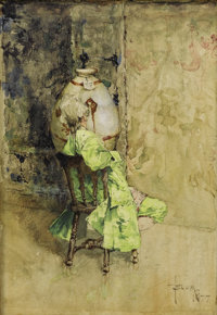 ROBERT FREDERICK BLUM (American 1857-1903) The Critic, 1877 Watercolor on paper 8 x 5-1/2 inches