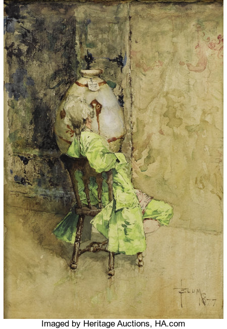 ROBERT FREDERICK BLUM (American 1857-1903)The Critic, 1877Watercolor on paper8 x 5-1/2 inches (20.3 x 14.0 cm)Si...