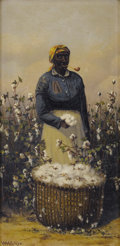 Fine Art - Painting, American, WILLIAM AIKEN WALKER (American 1838-1921). Cotton Picker.Oil on board. 12 x 6 inches (30.5 x 15.2 cm). Signed lower lef...