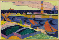 ANDRE ALEXEYEVICH JAWLENSKY (Russian 1902-1984) Houses Along the Coast, 1927 Pastel on paper 26 x