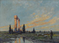 Fine Art - Painting, American:Modern  (1900 1949)  , ARTHUR VIDAL DIEHL (American 1870-1929). Ruins at dawn,1924. Oil on artists' board. 18-3/4 x 25-1/2 inches (47.6 x 64.8...