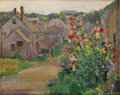 Fine Art - Painting, American:Modern  (1900 1949)  , CLAIRE SHUTTLE (American 1868-1930). Hollyhocks, circa1890s. Oil on canvasboard. 8-1/8 x 10-1/8 inches (20.6 x 25.7cm)...