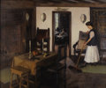 Fine Art - Painting, American:Modern  (1900 1949)  , JOHN HUBBARD RICH (American 1876-1954). Woman Tidying theKitchen, 1912. Oil on canvas. 25 x 30 inches (63.5 x 76.2cm)...