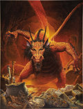 Illustration:Science Fiction, KEITH PARKINSON (American 1958 - 2005) . Great Red Dragon,1986, original illustration . Acrylic on board . 23 x 18in. ...