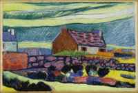 ANDRE ALEXEYEVICH JAWLENSKY (Russian 1902-1984) Cottage with Rock Fence, 1927 Pastel on paper 26
