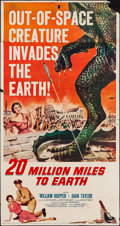 "Movie Posters:Science Fiction, 20 Million Miles to Earth (Columbia, 1957). Three Sheet (41"" X78.5""). Science Fiction.. ..."