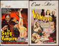 """Movie Posters:Horror, Blood of the Vampire & Other Lot (Apollon Films, 1958).Belgians (2) (14"""" X 22""""). Horror.. ... (Total: 2 Items)"""