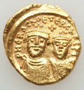 Ancients:Byzantine, Ancients: Heraclius (AD 610-641) and Heraclius Constantine (AD613-641). AV solidus (4.40 gm). AU, unevenly struck, bent....