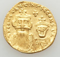 Ancients:Byzantine, Ancients: Constans II (AD 641-668) and Constantine IV (AD 654-685).AV solidus (4.39 gm). About AU, graffito...