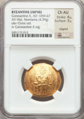 Ancients:Byzantine, Ancients: Constantine X Ducas (AD 1059-1067). AV histamenon nomisma(4.39 gm). NGC Choice AU 4/5 - 3/5, clipped....