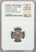 Ancients:Oriental, Ancients: INDO-GREEK KINGDOM. Bactria. Antialcidas (ca. 130-120 BC). AR drachm (2.41 gm). NGC XF 4/5 - 3/5. ...