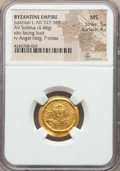 Ancients:Byzantine, Ancients: Justinian I (AD 527-565). AV solidus (4.48 gm). NGC MS5/5 - 4/5. ...