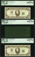 Error Notes:Ink Smears, Fr. 2077-F $20 1990 Federal Reserve Notes. Three ConsecutiveExamples. PCGS Gem New 66PPQ.. ... (Total: 3 notes)