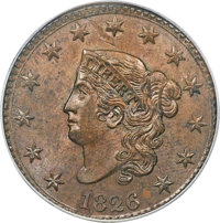 1826 1C N-6, R.2, MS64 Brown PCGS. CAC....(PCGS# 36826)